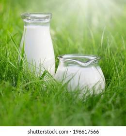 Two bottles of fresh milk over summer background