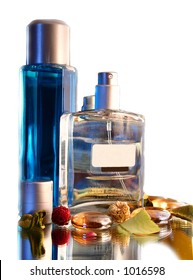 Two Bottles of Parfume - decor. Isolated in white background