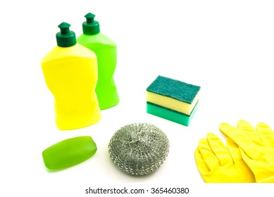 two bottles, soap and gloves on white