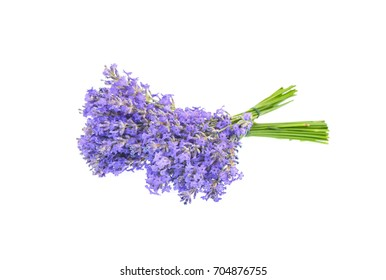 Two bouquets of lavender flower isolated on white background