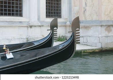 Two bows of gondolas floating in a canal, Venice, Veneto, gondola, Italy