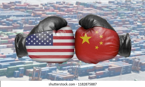 Two boxing glove isolated on a white background. People's Republic of China and USA