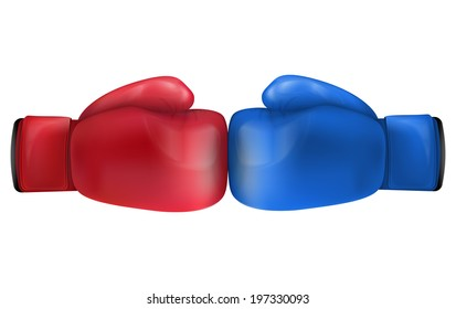 Two Boxing gloves in collision. Isolated on white background. Bitmap copy.