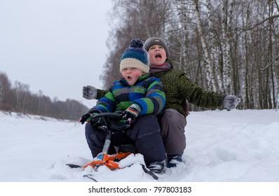 two boys of European appearance sledding in the snow in the woods while Hiking