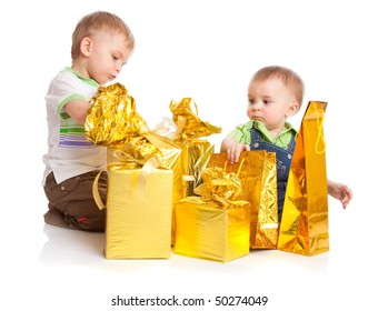 Two boys with gifts. Isolated on white background