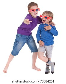two boys having fun wearing 3D glasses