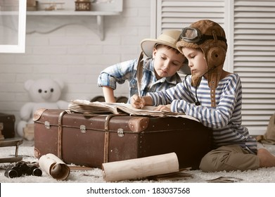 Two boys in the images of the pilot and the traveler fill your travel book