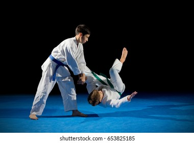Two boys martial arts fighters isolated