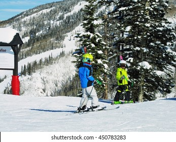 Two boys on the slopes of Steamboat Springs, Colorado