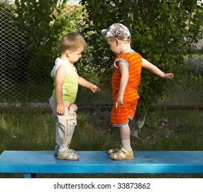 Two boys on walk in the summer