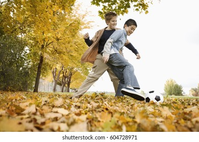 Two boys playing and throwing autumn leaves in the air and at each other,