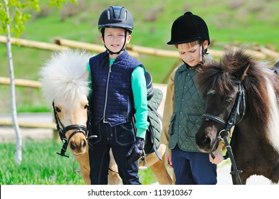 Two boys with pony