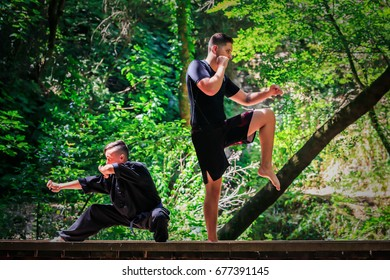 Two boys practicing martial arts. Combat Guard: Kickboxing Fighter and Kung Fu Fighter