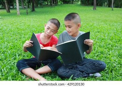 Two boys reading in the park.