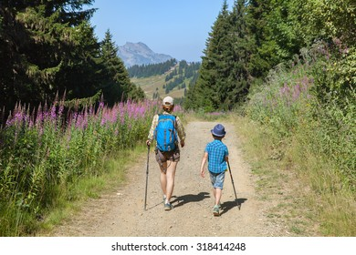 Two boys are walking in the French Alps in summer day