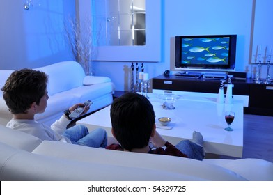 Two boys watching underwater documentary on TV