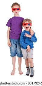 two boys wearing 3D glasses on white background