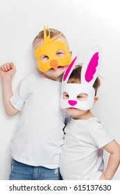 Two boys wearing animal mask for Easter party