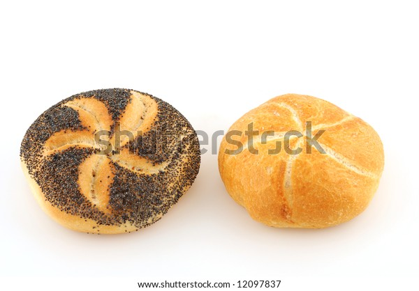 Two bread roll in front of a white background