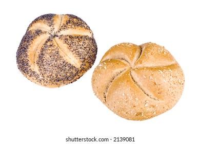 two breadrolls on white background