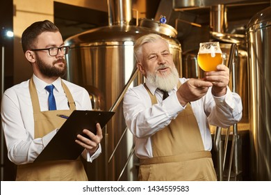 Two brewery specialists looking at beer glass, analyzing. Elderly brewer holding glass with cold beer with foam. Handsome bearded man, expert holding folder, looking at beer, writing.