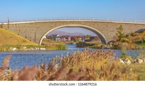 Two bridges over Oquirrh Lake in Daybreak Utah