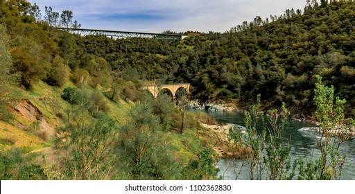 Two bridges over river