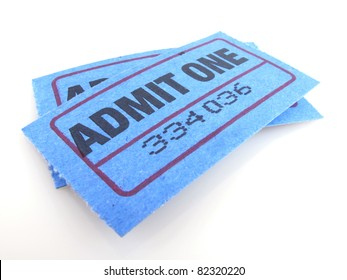 """Two bright blue """"admit one"""" tickets isolated on white"""