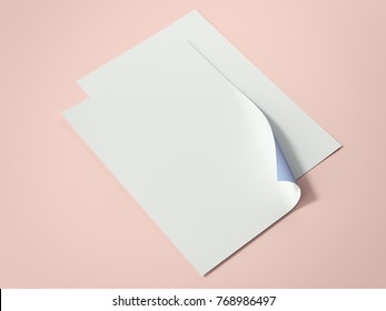 Two bright paper sheets on the orange floor. 3d rendering