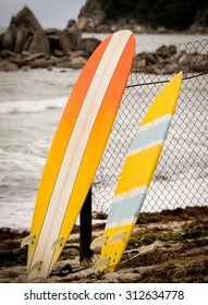 two bright yellow surfboards standing at the sea shore close up