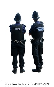Two British police officers with their backs to the cameras, isolated on a pure white background.