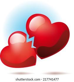 Two broken heart symbol between them went crack