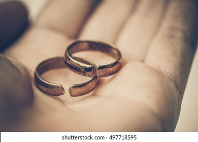 Two broken rings / Divorce concept