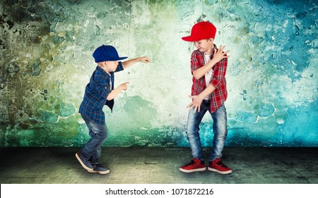 Two brothers dancing hip-hop .The cool kids.