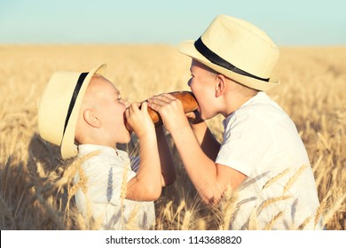 Two brothers eat black round bread on a wheat field.