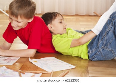 Boy Draw Paints Sitting On Floor Stock Photo Edit Now