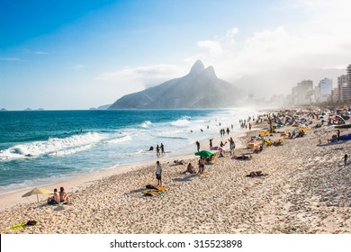 Two Brothers Mountain and Ipanema beach in Rio de Janeiro. Brazil.