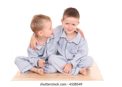 two brothers in pijamas - ready to bed