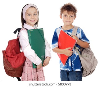 Two brothers students a over white background