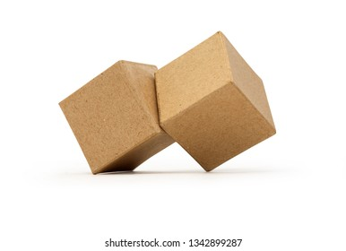 Two brown cardboard cubes isolated on white background with clipping path