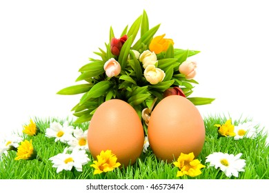 Two brown chicken eggs on grass with colorful flowers, over white background