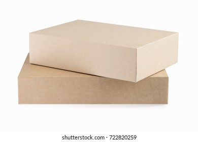 two brown paper boxes isolated on white with clipping path