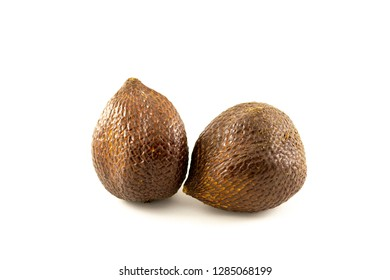 two brown salak with unique skin texture isolated on white background