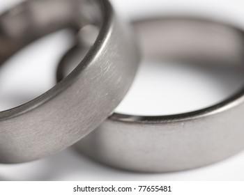 Two brushed metal ( Titanium ) rings