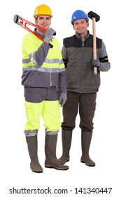 Two builder stood next to each other