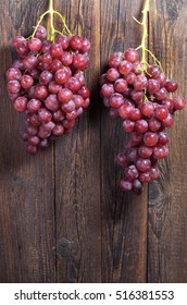 Two bunches of red grapes with water drops on dark wooden background. Space for your text