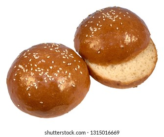 Two buns with sesame for hamburger white