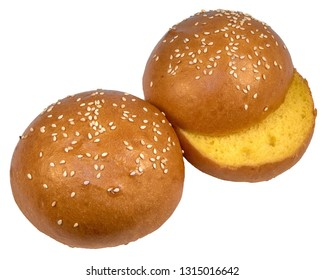 Two buns with sesame seeds for the hamburger yellow