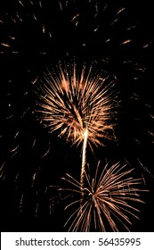 Two bursts of fireworks, one like a dandelion, with embers falling all around