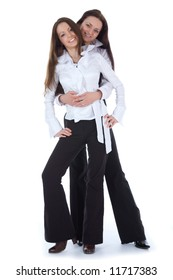 Two business lady on white